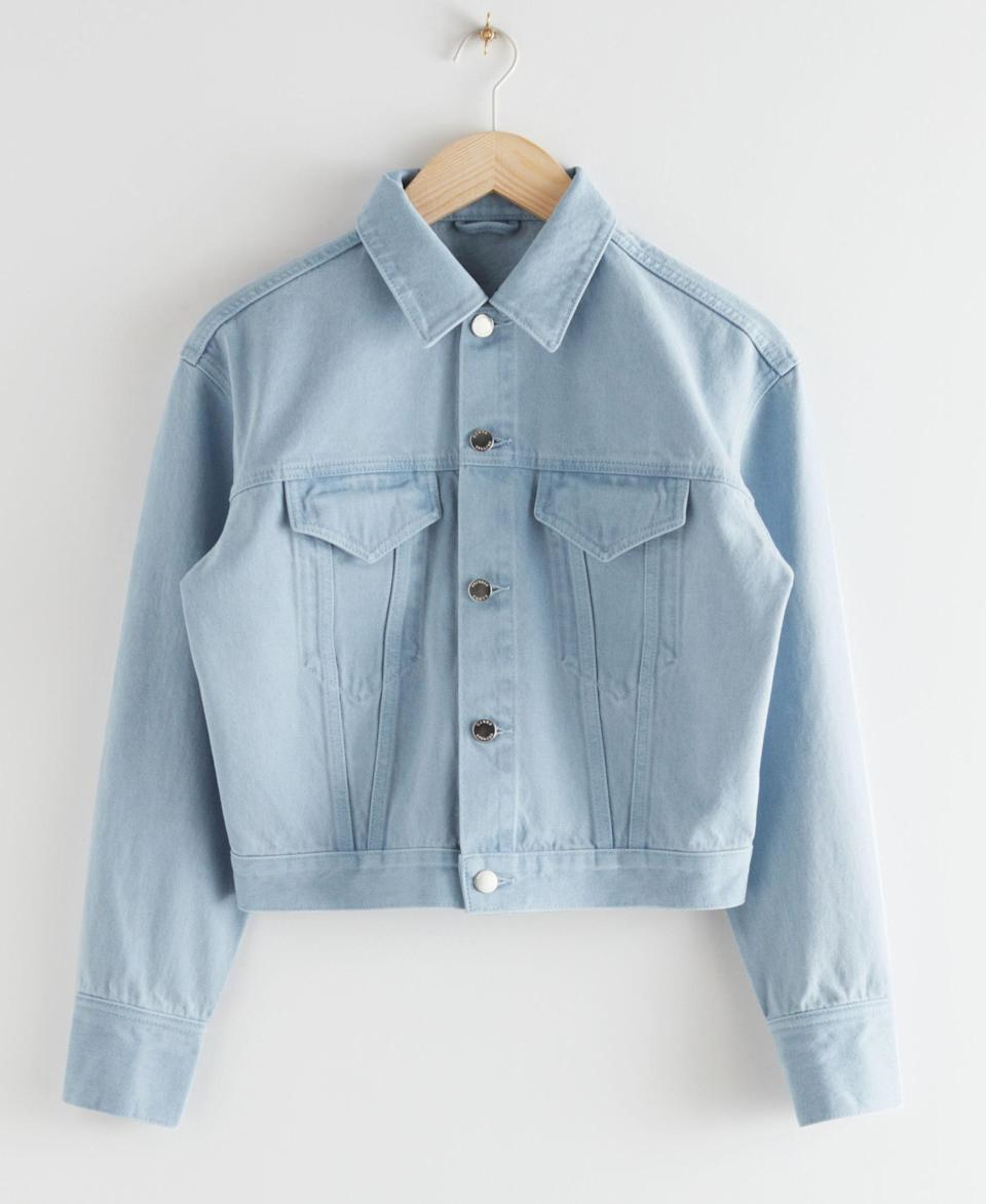 """Yes, you need another denim jacket in your closet. $119, & Other Stories. <a href=""""https://www.stories.com/en_usd/clothing/jackets-coats/denimjackets/product.classic-denim-jacket-blue.0868501001.html"""" rel=""""nofollow noopener"""" target=""""_blank"""" data-ylk=""""slk:Get it now!"""" class=""""link rapid-noclick-resp"""">Get it now!</a>"""