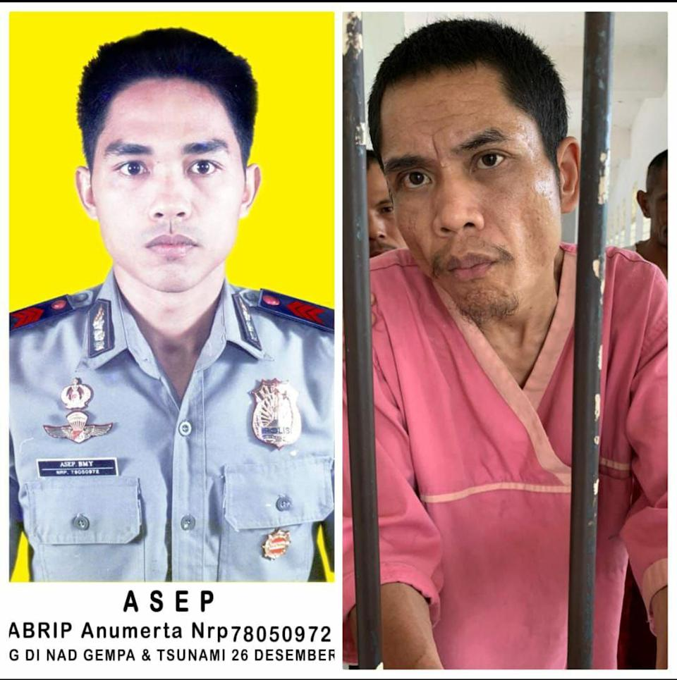 During the 2004 Boxing Day tsunami, Zainal Abidin (left) went missing, now, a man staying at a mental institution (right) is him. Source: VOI