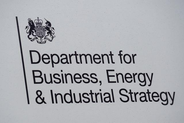 Signage for the Department of Business, Energy & Industrial Strategy in Westminster, London (Kirsty O'Connor/PA)