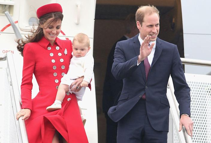 <p>Prince George and his parents, the Duke and Duchess of Cambridge, arrive in New Zealand for the first day of a Royal Tour.</p>