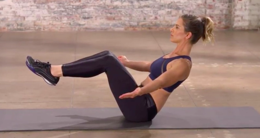Hold this position for 30 seconds and burn tons of calories. (Photo: Courtesy of Jillian Michaels)