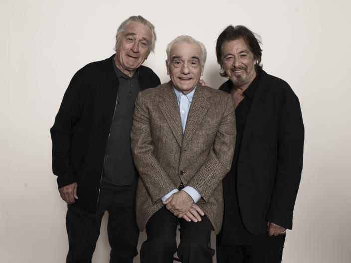 """This Sept. 30, 2019 photo shows actor Al Pacino, from right, director Martin Scorsese, and actor Robert De Niro posing for a portrait to promote their upcoming film """"The Irishman"""" in New York. (Photo by Victoria Will/Invision/AP)"""