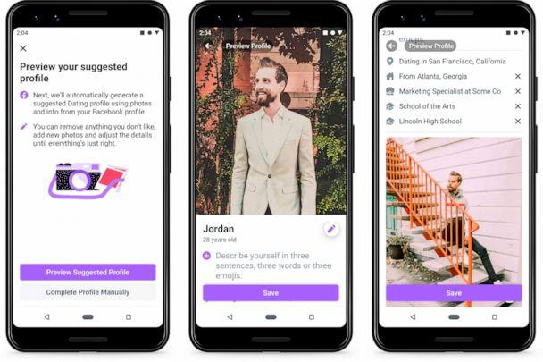 PHOTO: This undated product image provide by Facebook shows screenshots of Facebook Dating, a mobile-only matchmaking service. On Thursday, Sept. 5, 2019, the service will launch in the U.S. (Facebook via AP)