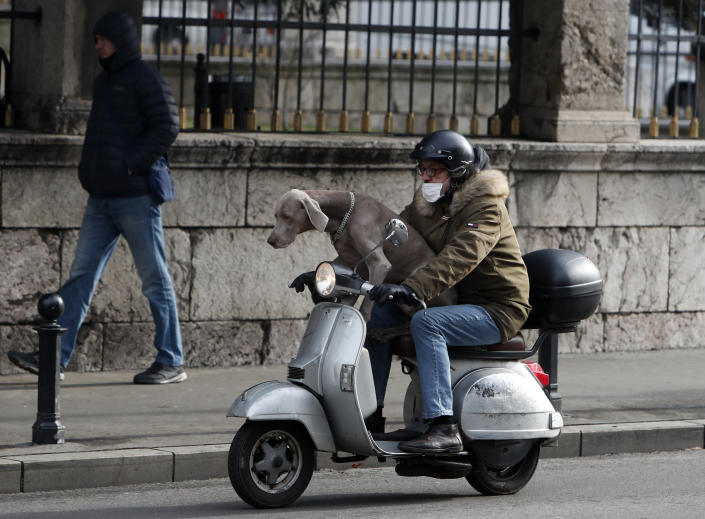 A man wearing a face mask to protect against coronavirus with dog ride a motor scooter in Belgrade, Serbia, Friday, Feb. 19, 2021. (AP Photo/Darko Vojinovic)
