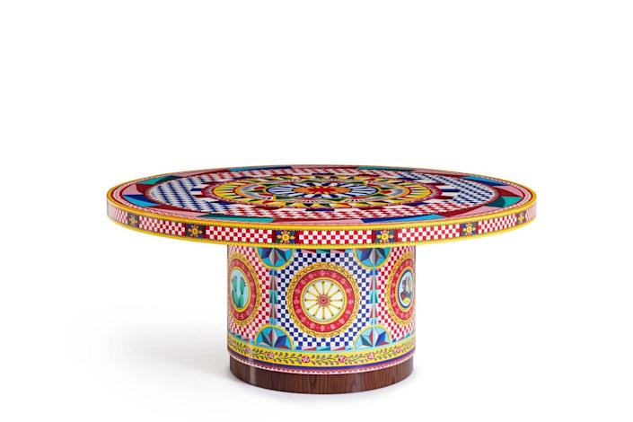 Colorful maximalist coffee table featured in Dolce & Gabbana's