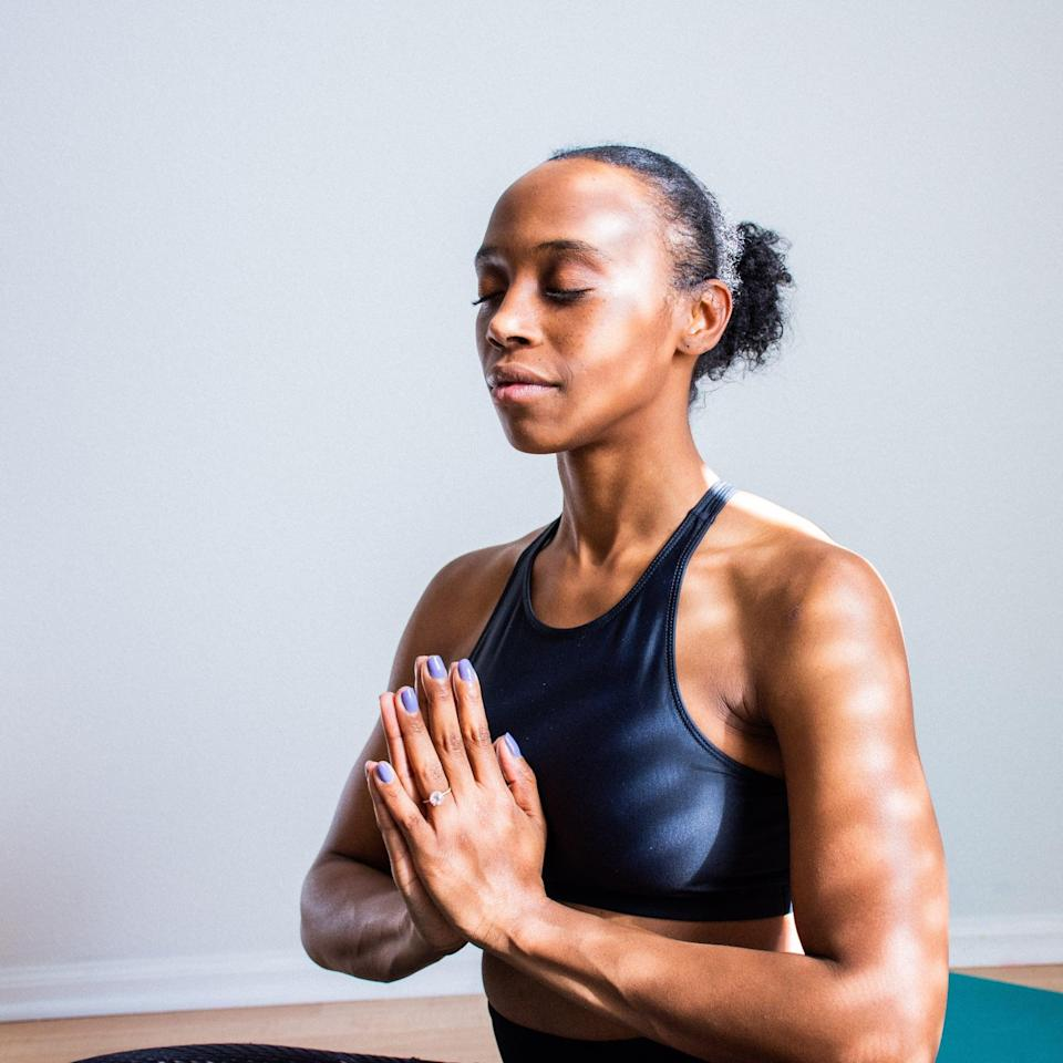 """<p>Restorative yoga is designed to help with stress relief and relaxation. Usually done at a slower pace with longer pauses, you can <a href=""""http://www.youtube.com/watch?v=LI6RwT0ulDk"""" class=""""link rapid-noclick-resp"""" rel=""""nofollow noopener"""" target=""""_blank"""" data-ylk=""""slk:try a restorative flow here"""">try a restorative flow here</a>.</p>"""