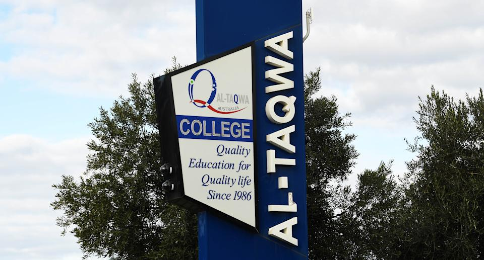 General view of Signage for Al-Taqwa College in Truganina, Melbourne, Thursday, July 16, 2020. Source: AAP