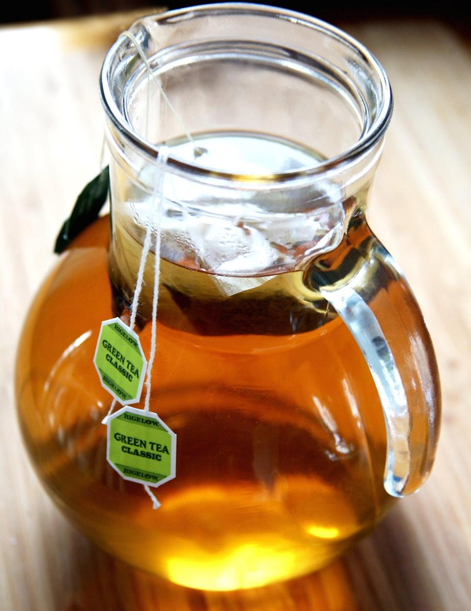 """<p>Water's not the only metabolism booster in town. Studies have shown that drinking <a href=""""https://www.popsugar.com/fitness/Tea-Helps-You-Lose-Weight-25879117"""" class=""""link rapid-noclick-resp"""" rel=""""nofollow noopener"""" target=""""_blank"""" data-ylk=""""slk:green tea can give your metabolism a tiny increase"""">green tea can give your metabolism a tiny increase</a> - it may not move the scale a whole lot, but it could add up at the end of the week or month. Not only that, but the beverage has got some major antioxidant power and can keep you hydrated and full, so drink up! </p>"""