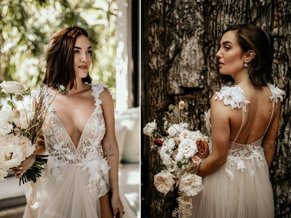 The front and back of the bodice of Thaina Bak's wedding dress