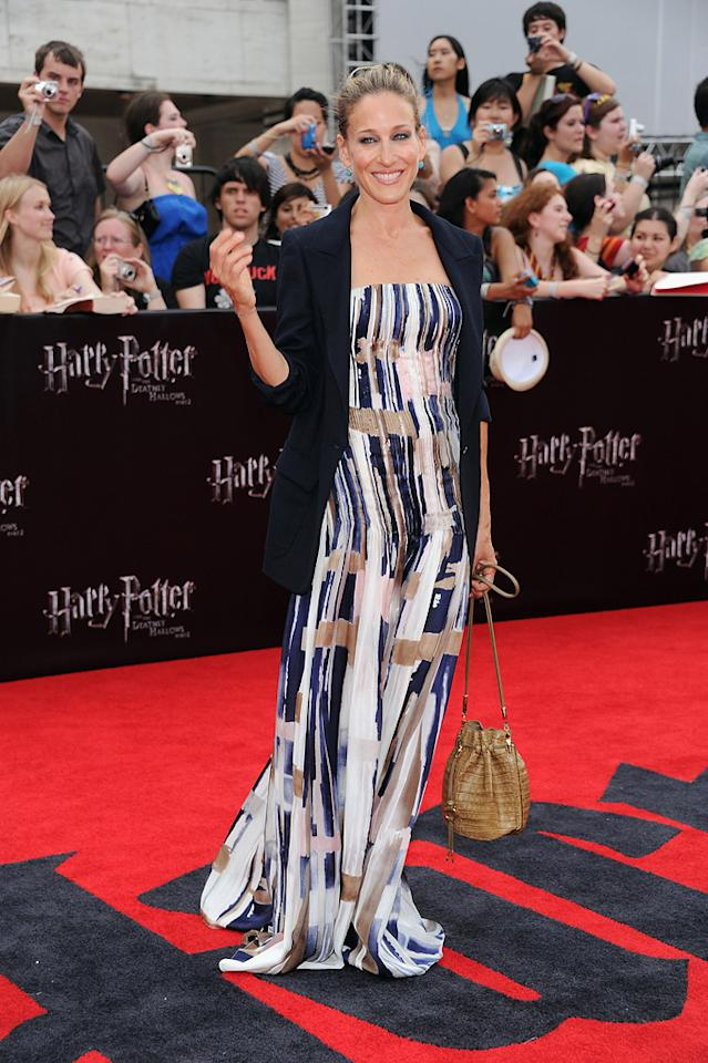 """<a href=""""http://movies.yahoo.com/movie/contributor/1800016083"""">Sarah Jessica Parker</a> at the New York City premiere of <a href=""""http://movies.yahoo.com/movie/1810004624/info"""">Harry Potter and the Deathly Hallows - Part 2</a> on July 11, 2011."""