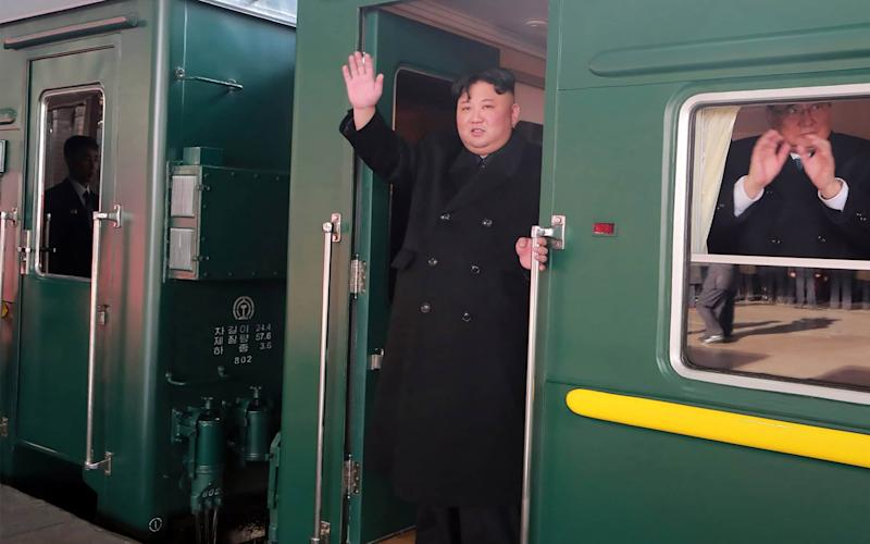 North Korean leader Kim Jong-un departs Pyongyang Station for the second North Korea-US summit meeting in Hanoi - AFP