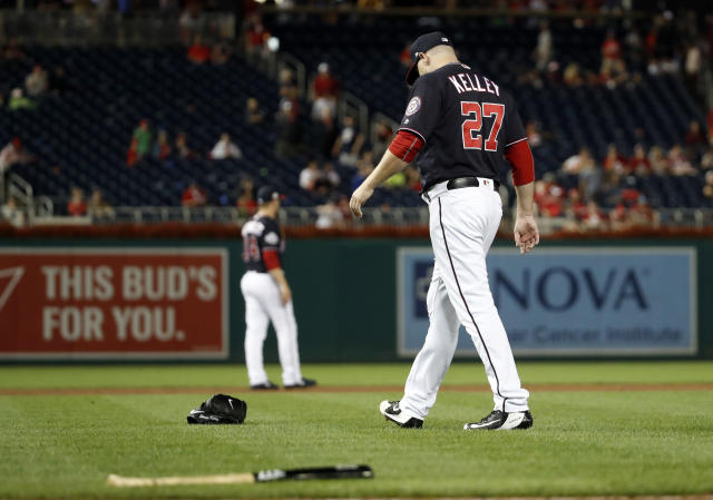 Nationals reliever Shawn Kelley let his frustrations get the best of him Tuesday. (AP Photo)