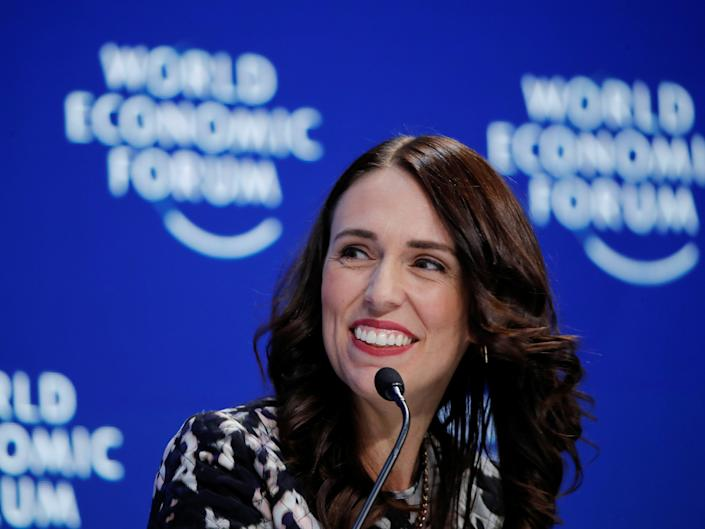 New Zealand's Prime Minister Jacinda Ardern at the World Economic Forum in Davos, January 2019.