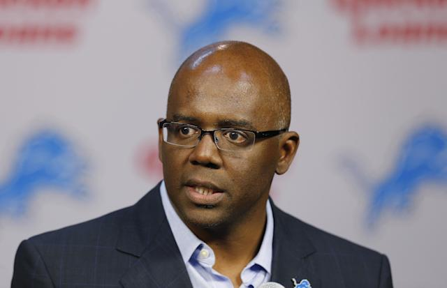 Detroit Lions general manager Martin Mayhew speaks about NFL football first-round draft choice North Carolina tight end Eric Ebron during a news conference in Allen Park, Mich., Friday, May 9, 2014. (AP Photo/Paul Sancya)