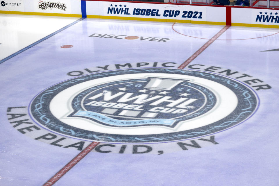 LAKE PLACID, NEW YORK - FEBRUARY 01: A general view of the NWHL logo on the ice before the game at Herb Brooks Arena on February 01, 2021 in Lake Placid, New York. (Photo by Maddie Meyer/Getty Images)