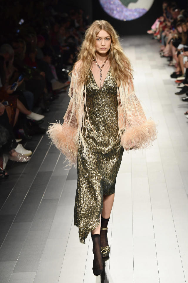 Gigi Hadid walked the Anna Sui catwalk with only one shoe. (Photo: Getty Images)