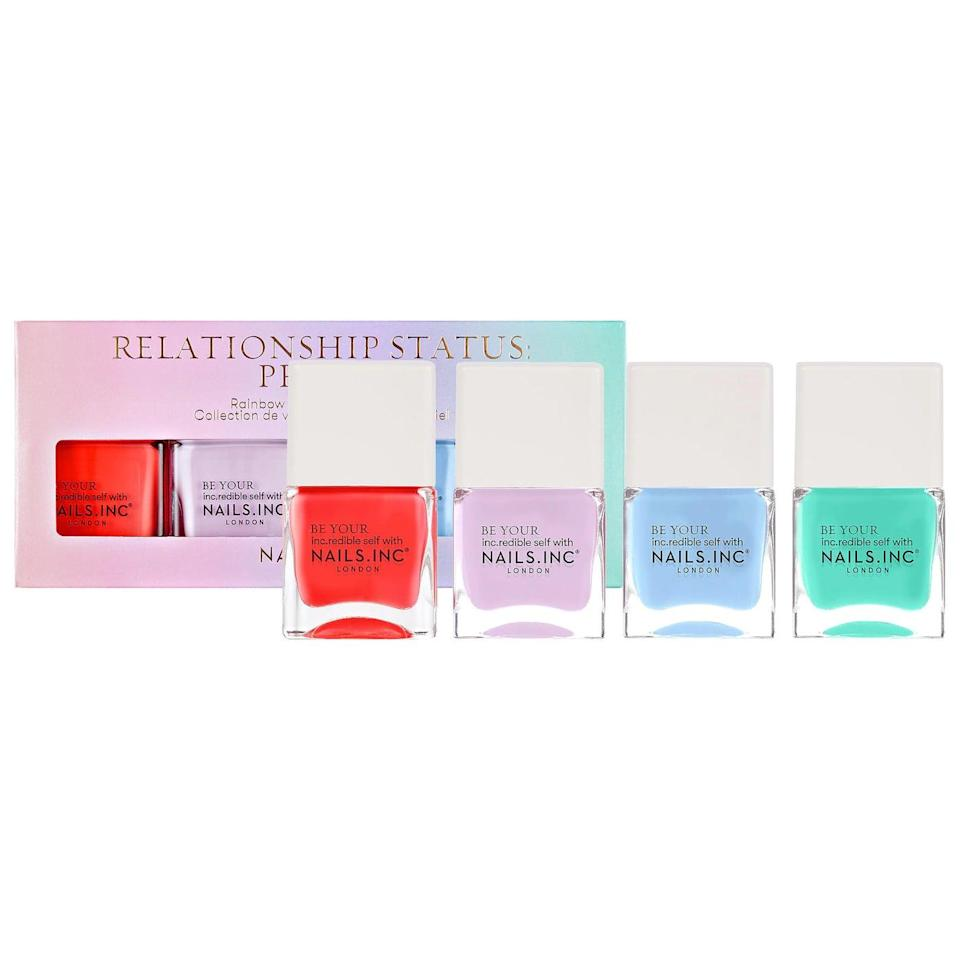 <p>We're loving this <span>Nails Inc. Relationship Status: Proud Nail Polish Set</span> ($22) for the summer. Proceeds from this nail polish quad will be donated to The Stonewall Foundation.</p>