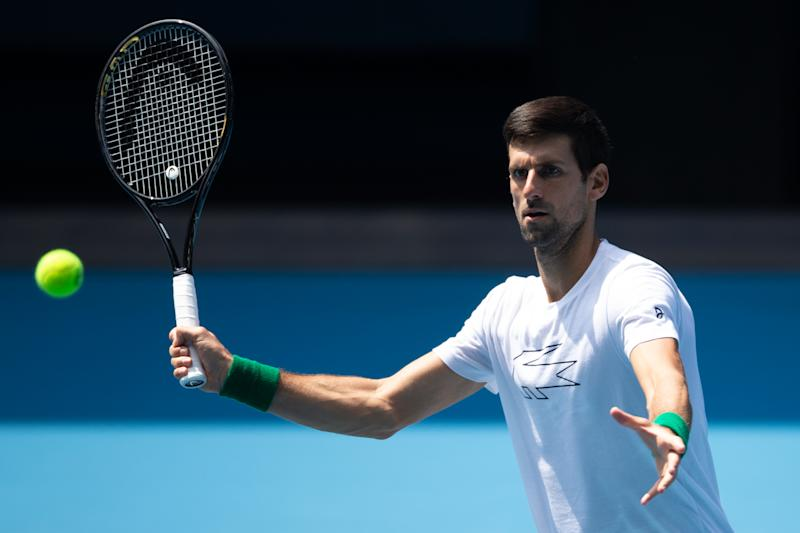 Novak Djokovic of Serbia attends a practice session in Melbourne on January 16, 2020, ahead of the Australian Open tennis tournament. (Photo by ASANKA BRENDON RATNAYAKE / AFP) / -- IMAGE RESTRICTED TO EDITORIAL USE - STRICTLY NO COMMERCIAL USE -- (Photo by ASANKA BRENDON RATNAYAKE/AFP via Getty Images)
