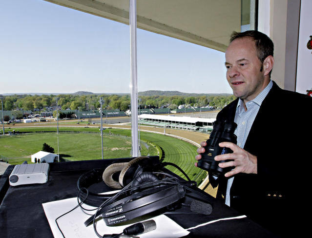 <p> New track announcer Larry Collmus checks out his booth high atop the grandstand at Churchill Downs in Louisville, Ky., Wednesday, April 23, 2014. Collmus replaces British announcer Mark Johnson, who had called Churchill races since 2009. (AP Photo/Garry Jones) </p>