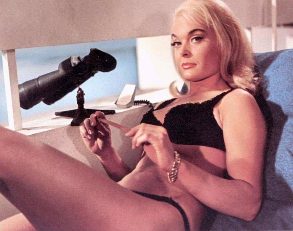 <p>An employee of bullion dealer Auric Goldfinger, Masterson's quick fling with James Bond in Miami lands her a tragic albeit glamorous fate: Epidermal suffocation from being covered in gold paint — a death debunked as impossible by <i>Mythbusters</i>. <i>(Photo: Everett Collection)</i></p>