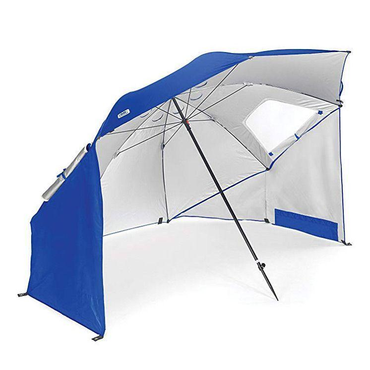 """<p><strong>Sport-Brella</strong></p><p>amazon.com</p><p><strong>$65.82</strong></p><p><a href=""""https://www.amazon.com/dp/B002CLQ1Q2?tag=syn-yahoo-20&ascsubtag=%5Bartid%7C10055.g.31744593%5Bsrc%7Cyahoo-us"""" rel=""""nofollow noopener"""" target=""""_blank"""" data-ylk=""""slk:Shop Now"""" class=""""link rapid-noclick-resp"""">Shop Now</a></p><p>Stand up to a particularly windy beach with the Sport-Brella canopy style beach umbrella. This eight-foot long umbrella is made from water resistant treated polyester. It can be immediately set up for easy use, <strong>while on windy days, there are tie down cords and stakes</strong>. With over 8,000 reviews on Amazon, many reviewers commenting that the flaps on the side allow a nice breeze in when opened.</p>"""