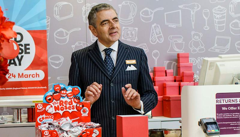 Rowan Atkinson back as Rufus on the set of Red Nose Day Actually