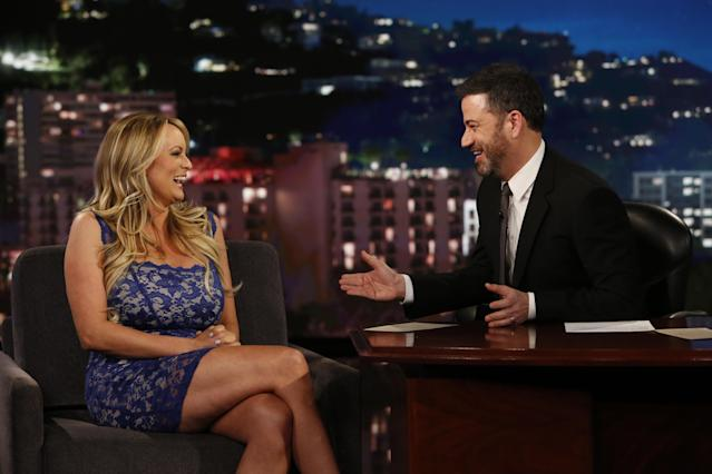 Stormy Daniels and Jimmy Kimmel. (Photo: Randy Holmes/ABC)
