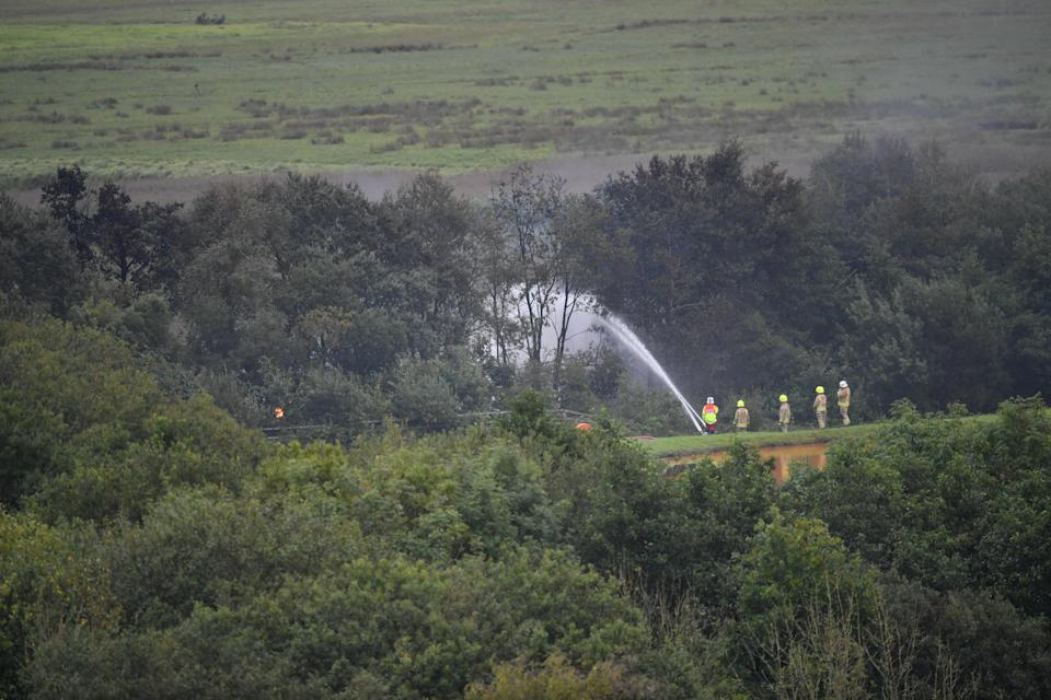 The scene in August in the aftermath of a fire on a freight train carrying diesel fuel at Llangennech, near Llanelli (Ben Birchall/PA)