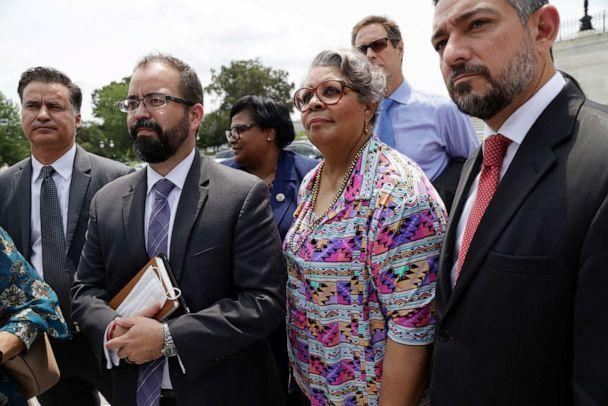 PHOTO: Texas State Reps. Joe Moody (D-78) (2nd L), Toni Rose (D-110) (3rd L) and Senfronia Thompson (D-141) (4th L), and Texas State Sen. Cesar Blanco (D-29) (R) speak to reporters after a meeting with Sen. Joe Manchin at the Capitol, July 15, 2021. (Alex Wong/Getty Images)