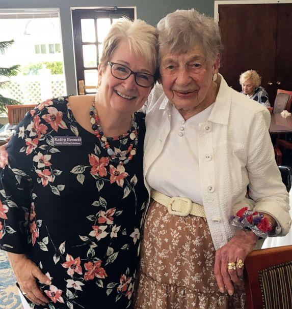 PHOTO: Kathy Bennett of Family Staffing Solutions poses for a photo with Marion L. Lyon, 104, during a celebration at the Meadows Lakeshore Senior Living in Nashville, Aug. 15, 2019. (Courtesy Family Staffing Solutions)