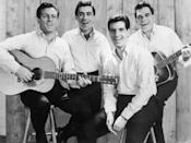 """<p>The Four Seasons was one of the best-selling recording artists of the decade. The group had more than 25 hits over a five-year period beginning with 1962s """"<a href=""""https://www.amazon.com/Sherry/dp/B00122AB40/?tag=syn-yahoo-20&ascsubtag=%5Bartid%7C10063.g.35225069%5Bsrc%7Cyahoo-us"""" rel=""""nofollow noopener"""" target=""""_blank"""" data-ylk=""""slk:Sherry"""" class=""""link rapid-noclick-resp"""">Sherry</a>."""" That was followed by other hits that same year including """"<a href=""""https://www.amazon.com/Big-Girls-Dont-Cry/dp/B001225A82/?tag=syn-yahoo-20&ascsubtag=%5Bartid%7C10063.g.35225069%5Bsrc%7Cyahoo-us"""" rel=""""nofollow noopener"""" target=""""_blank"""" data-ylk=""""slk:Big Girls Don't Cry"""" class=""""link rapid-noclick-resp"""">Big Girls Don't Cry</a>,"""" """"<a href=""""https://www.amazon.com/Walk-Like-A-Man/dp/B00122CAQM/?tag=syn-yahoo-20&ascsubtag=%5Bartid%7C10063.g.35225069%5Bsrc%7Cyahoo-us"""" rel=""""nofollow noopener"""" target=""""_blank"""" data-ylk=""""slk:Walk Like a Man"""" class=""""link rapid-noclick-resp"""">Walk Like a Man</a>"""" (1963), """"<a href=""""https://www.amazon.com/Dawn-Go-Away/dp/B00122CARQ/?tag=syn-yahoo-20&ascsubtag=%5Bartid%7C10063.g.35225069%5Bsrc%7Cyahoo-us"""" rel=""""nofollow noopener"""" target=""""_blank"""" data-ylk=""""slk:Dawn"""" class=""""link rapid-noclick-resp"""">Dawn</a>"""" (1964), and """"<a href=""""https://www.amazon.com/Lets-Hang-On/dp/B00122CAXU/?tag=syn-yahoo-20&ascsubtag=%5Bartid%7C10063.g.35225069%5Bsrc%7Cyahoo-us"""" rel=""""nofollow noopener"""" target=""""_blank"""" data-ylk=""""slk:Let's Hang On"""" class=""""link rapid-noclick-resp"""">Let's Hang On</a>"""" (1965). Their unique doo-wop harmony style, punctuated by Frankie Valli's falsetto, was instantly memorable. Their story was dramatized by the Tony Award-winning musical, <em>Jersey Boys</em>. </p>"""