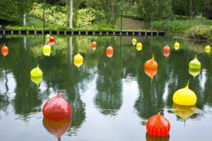 Chihuly Studio's 'Walla Wallas' at the Dragonfly Lake. Photo: Coconuts