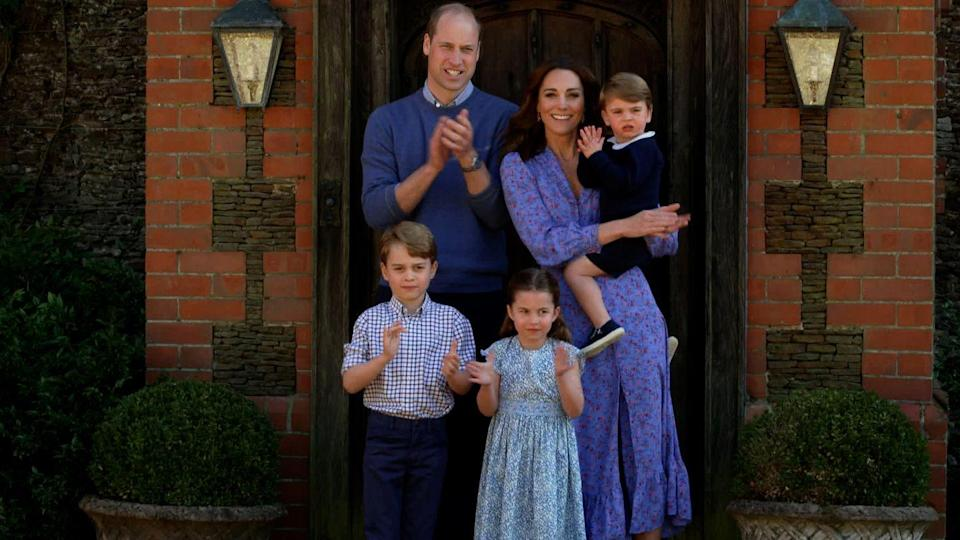 "<p>Kate Middleton and her family supported the frontline workers and the NHS by participating in the <a href=""https://www.bbc.com/news/av/uk-52054745"" rel=""nofollow noopener"" target=""_blank"" data-ylk=""slk:&quot;Clap for Our Carers&quot; movement"" class=""link rapid-noclick-resp"">""Clap for Our Carers"" movement</a> outside of their home in April 2020. </p>"