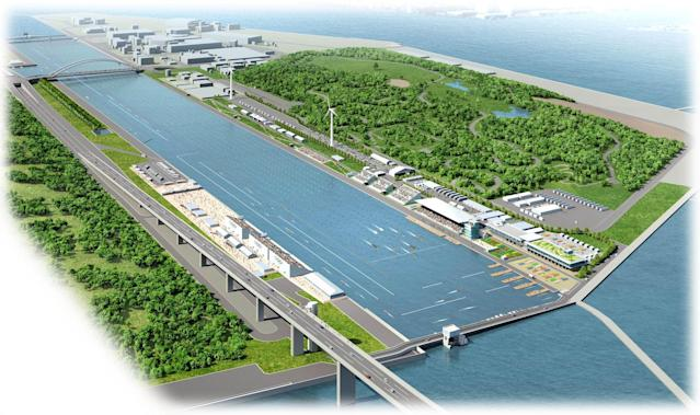 <p>Design rendering of the Sea Forest Waterway (Photo courtesy of Tokyo 2020) </p>