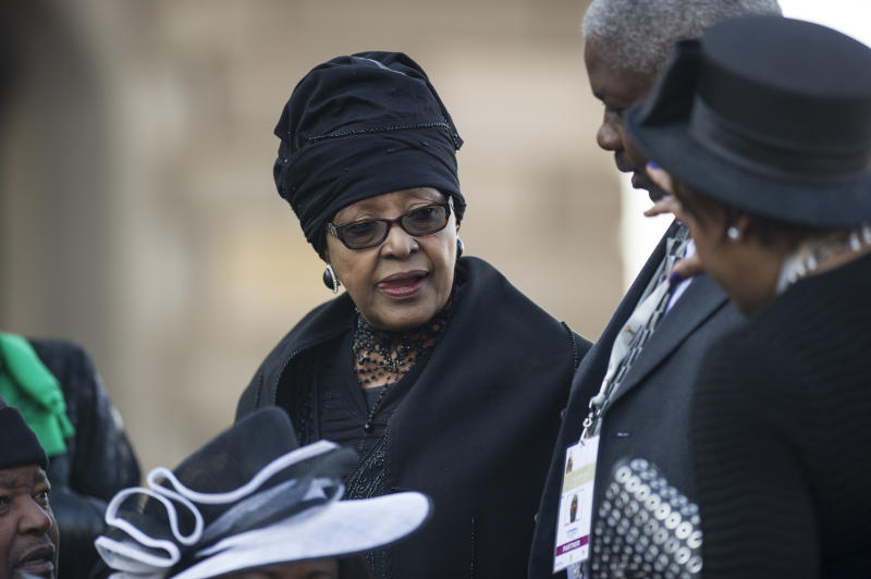 South African Winnie Madikizel Mandela, ex-wife of South African late President Nelson Mandela's and South African National Congress figure, arrives to attend on May 24, 2014, the inauguration ceremony for President Jacob Zuma in Pretoria