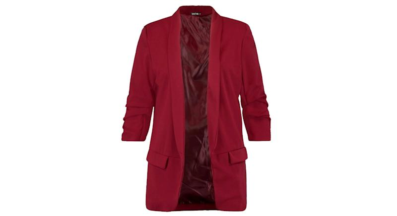 Plus Ruched Sleeve Blazer