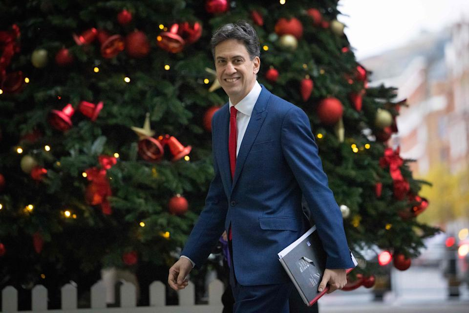 Former British opposition Labour Party leader Ed Miliband smiles as he arrives at the BBC in central London on December 13, 2020, to appear on the BBC political programme The Andrew Marr Show. - Sunday is just the latest in a string of supposedly hard deadlines for the negotiations but, with Britain due to leave the EU single market in 19 days, tensions are rising. (Photo by Tolga Akmen / AFP) (Photo by TOLGA AKMEN/AFP via Getty Images)