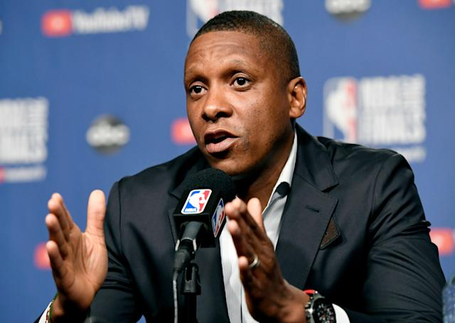 It's going to take more than money to lure Masai Ujiri away from Toronto. (Frank Gunn/The Canadian Press via AP)