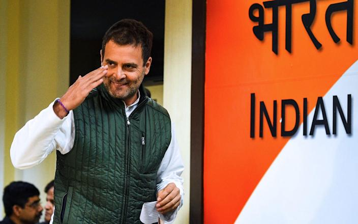 Rahul Gandhi was beaten by police as he attempted to travel to the victim's home district of Hathras - Chandan Khanna/AFP