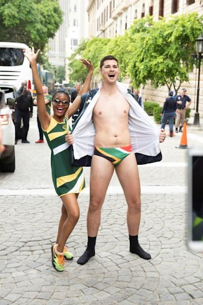 Y front: A Springboks supporter wears underpants emblazoned with the national flag, mimicking the attire of scrum half Faf de Klerk on the night South Africa won the cup