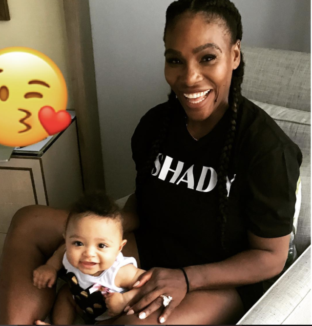 "<p>""Sometime our 's' means Shady,"" the tennis champ captioned this adorable shot with her baby girl, Alexis Olympia, who was born in September. (<a href=""https://www.instagram.com/p/BghY4tGl3Cw/?taken-by=serenawilliams"" rel=""nofollow noopener"" target=""_blank"" data-ylk=""slk:Serena Williams via Instagram"" class=""link rapid-noclick-resp"">Serena Williams via Instagram</a>) </p>"