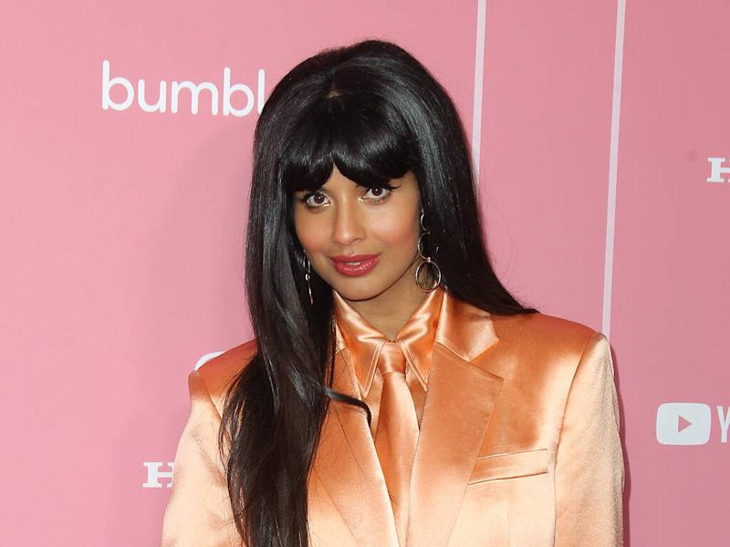 Jameela Jamil poses in suits for Playboy