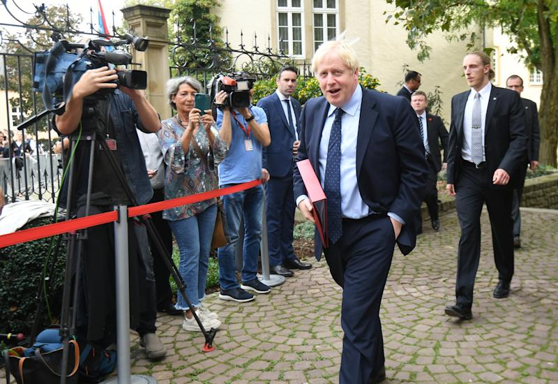 Prime Minister Boris Johnson arriving for his meeting with Luxembourg Prime Minister Xavier Bettel at the Ministry of State in Luxembourg. (PA)