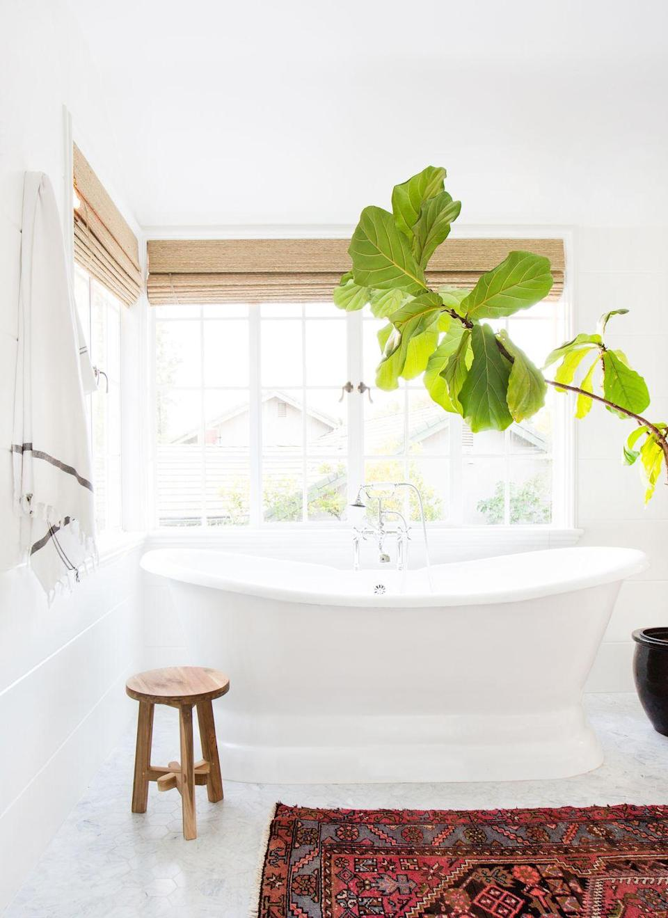 <p>Proof that a potted plant can go a <em>long</em> way. Combined with tons of natural light, this bathroom design by Amber Interiors is a true oasis. </p>