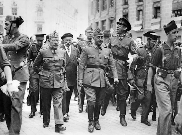 Gen. Francisco Franco, center, visits the headquarters of the Northern Front in Burgos, Spain, Aug. 19, 1936. (Photo: Imagno/Getty Images)