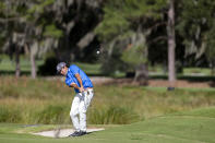 Robert Streb hits off the eighth fairway during third round of the RSM Classic golf tournament, Saturday, Nov. 21, 2020, in St. Simons Island, Ga. (AP Photo/Stephen B. Morton)