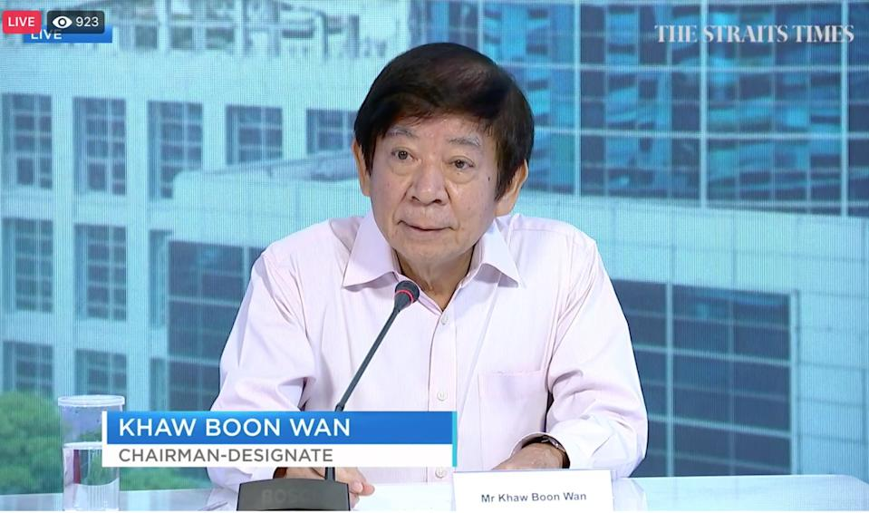 Singapore Press Holdings Media chairman-designate Khaw Boon Wan addresses reporters on Wednesday, 12 May 2021. (SCREENGRAB: The Straits Times)