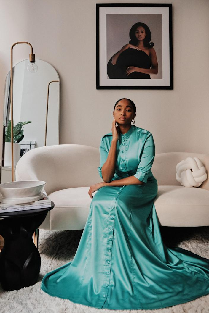 Candace Marie, in an Andrea Iyamah dress, in her New York apartment.