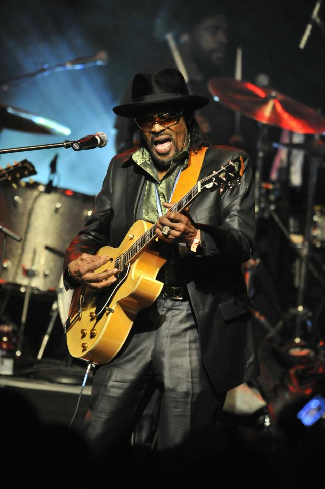 LOS ANGELES, CA - FEBRUARY 12:  Chuck Brown performs with the Roots Crew at the 7th Annual Roots Jam Session hosted by Jimmy Fallon at the Music Box on February 12, 2011 in Los Angeles, California. (Photo by Toby Canham/Getty Images)