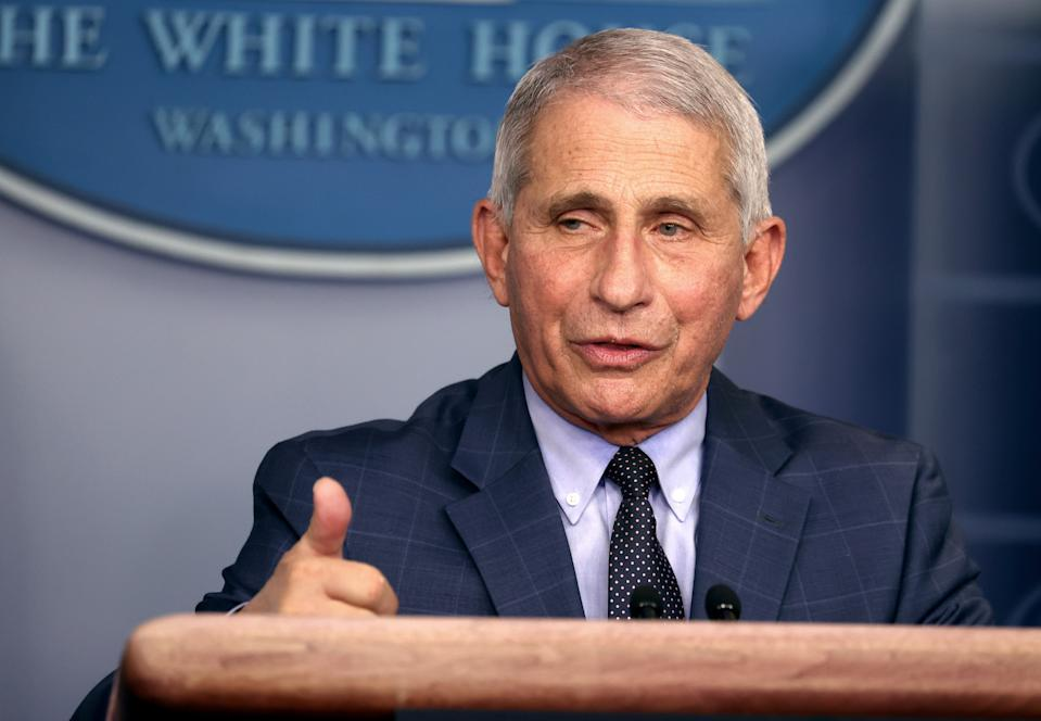 WASHINGTON, DC - NOVEMBER 19: Dr. Anthony Fauci, Director of the National Institute of Allergy and Infectious Diseases, speaks during a White House Coronavirus Task Force press briefing in the James Brady Press Briefing Room at the White House on November 19, 2020 in Washington, DC. The White House held its first Coronavirus Task Force briefing in months as cases of COVID-19 are surging across the country ahead of the Thanksgiving holiday. (Photo by Tasos Katopodis/Getty Images)